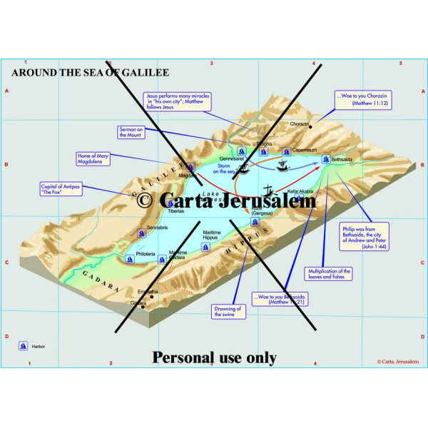 Around the Sea of Galilee - Printed Map - Carta Jerusalem on judea map, mount of beatitudes, red sea, tyre map, bethsaida map, masada map, jezreel valley map, canaan map, rheinhessen map, jerusalem map, mount of olives, world map, syria map, gaza map, jordan river, gaza strip, haifa map, capernaum map, jordan river map, quonset map, nazareth map, dead sea map, negev map, rome map, church of the holy sepulchre, tel aviv, west bank, dead sea, golan heights map,